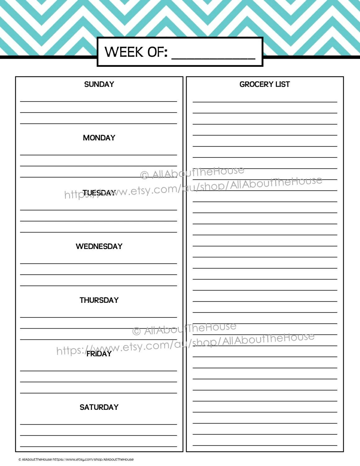 meal planner template pdf - Romeolandinez - Printable Weekly Menu Planner With Grocery List