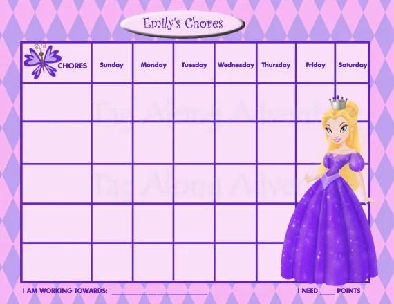 princess chore chart - Linemartinamarkova