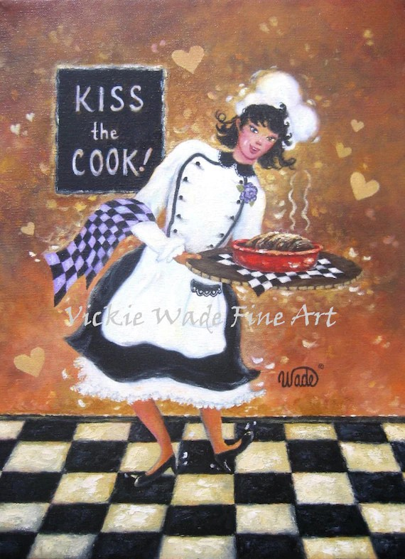 Fat Chef Kitchen Decor Lady Chef Art Print Girl Chef Fat Chef Paintings Woman