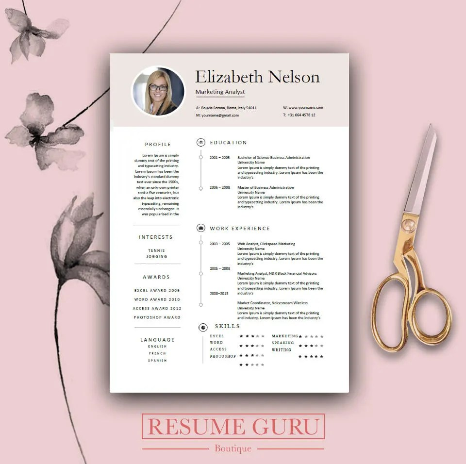 Professional Resume Template Bundle CV Package with Cover - download resume templates word 2018