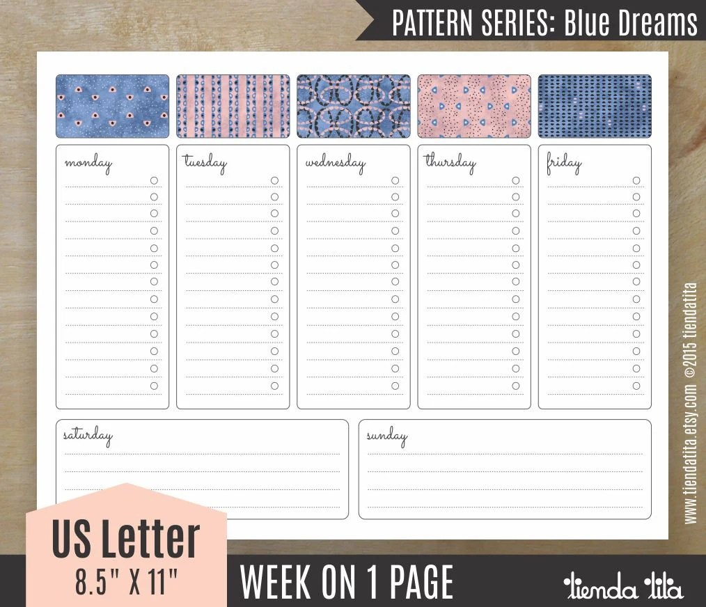 week at a glance printable with times