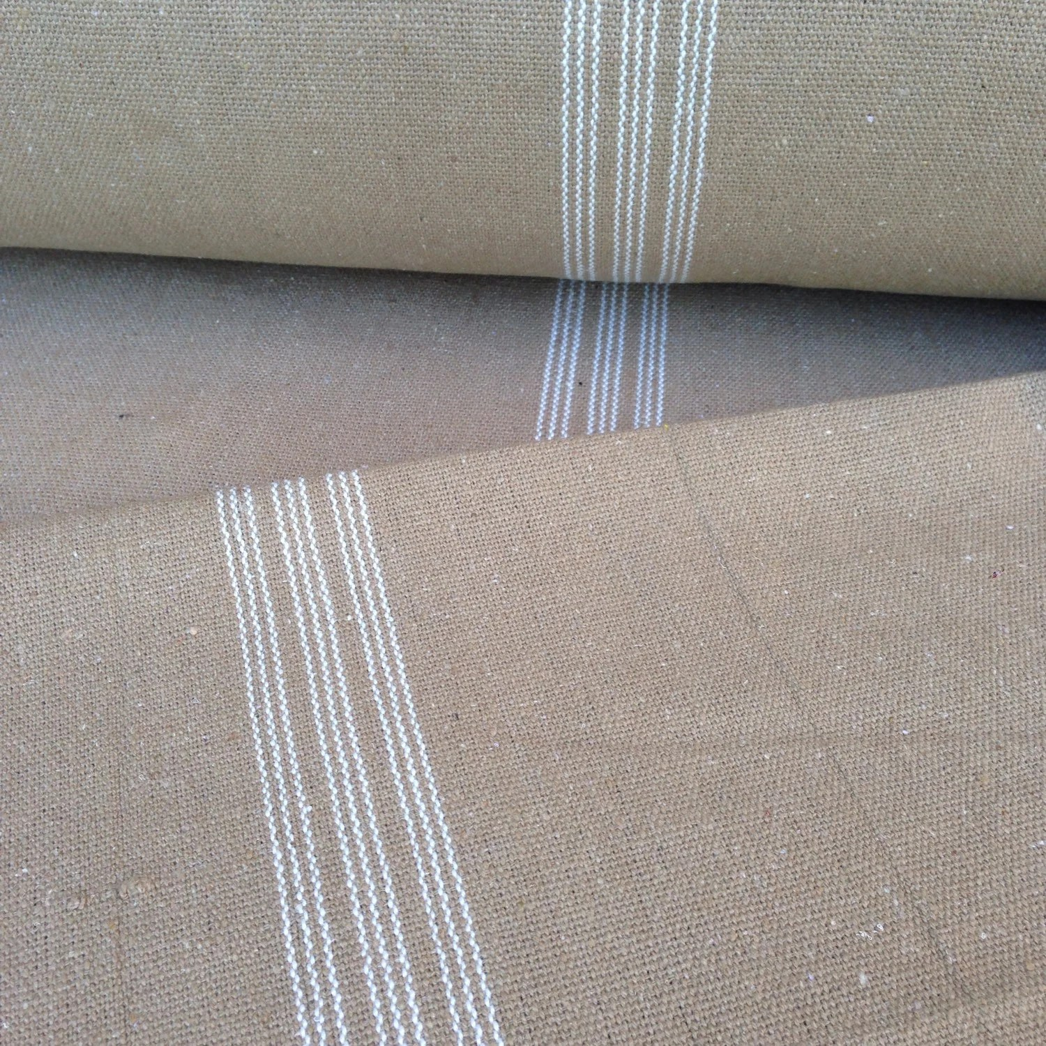 Flour Sack Fabric By The Yard Grain Sack Fabric Sold By The Yard White Stripes Tan Vintage