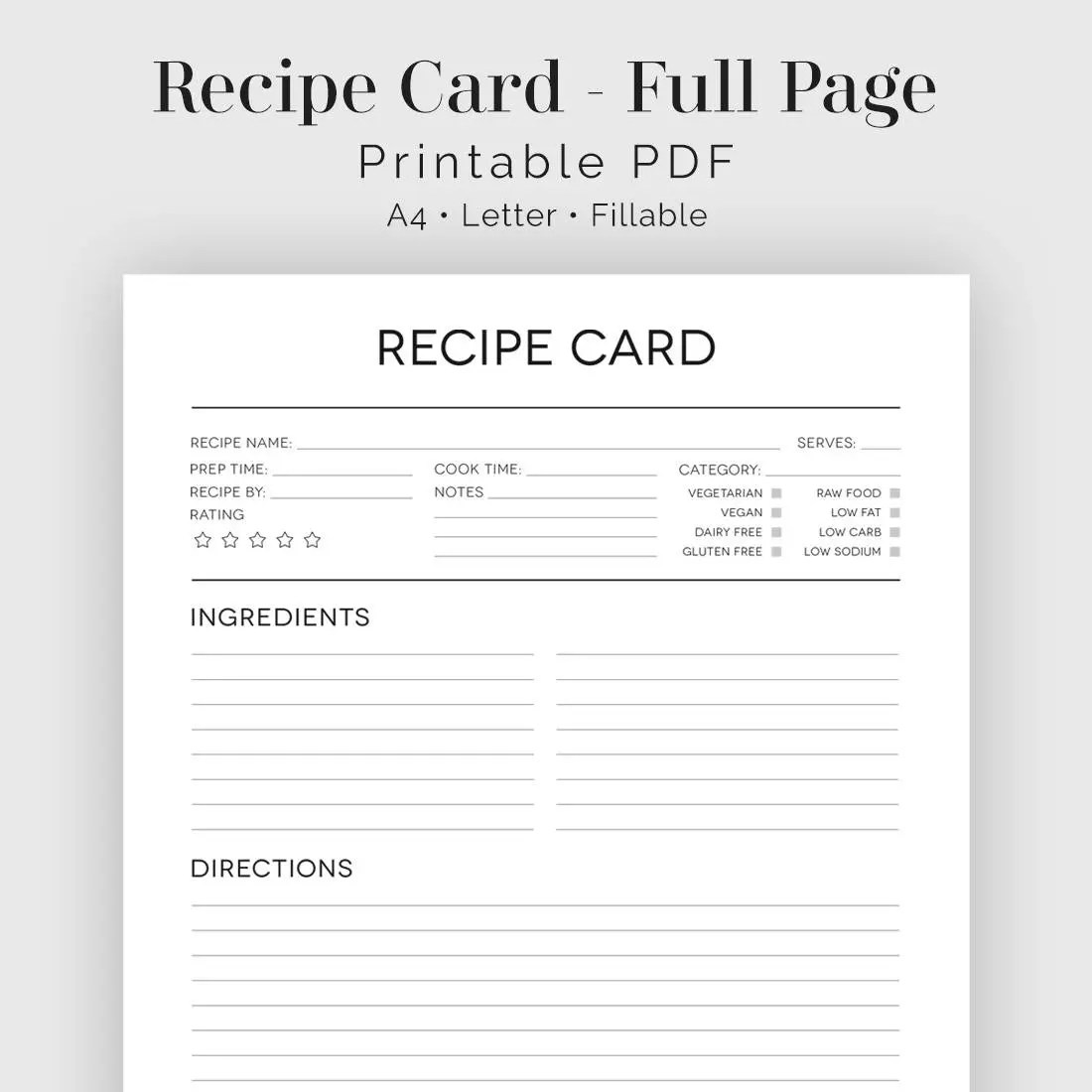 Beautiful Recipe Card Template Crest - Professional Resume Examples - black and white recipe card template