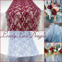 Burgundy/Dusty Blue Lace Table Runner/12 wide/3ft-11ft