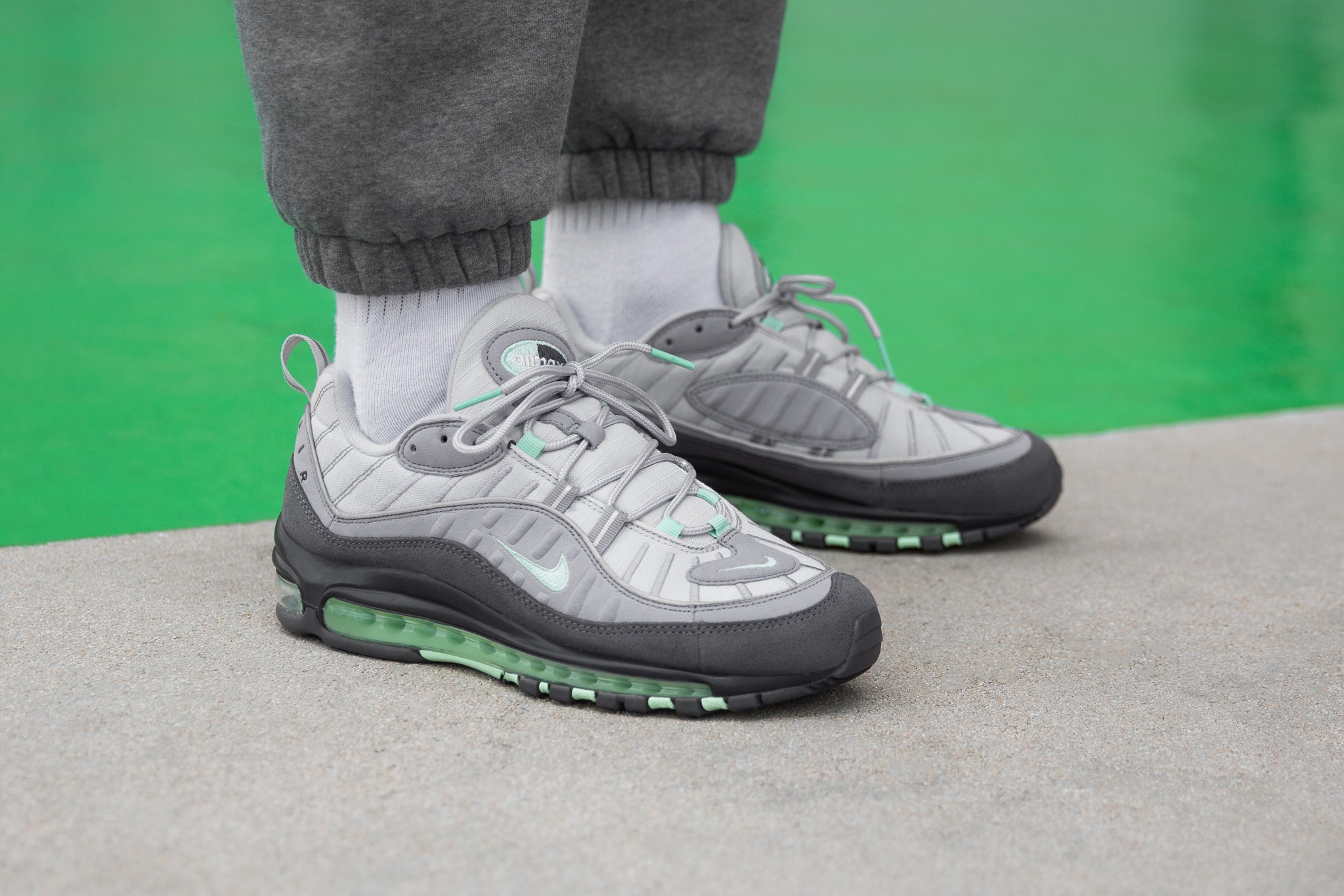 Nike Zoom Grey And Green On Foot Nike Air Max 98