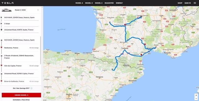 Tesla lanza la versión web de su planificador de viajes, que señala