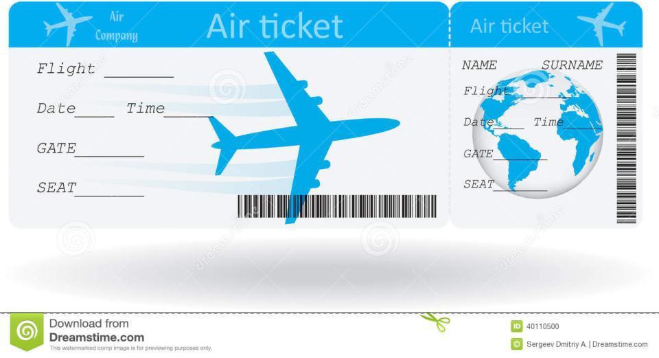 Airline Ticket Voucher Template - plane ticket template