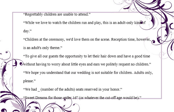 Wedding Invitation Wording (No Children) How to and Samples