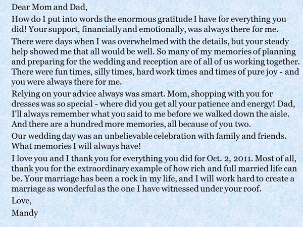 A Message from the Bride and Groom to their Parents - EverAfterGuide - thank you letter to parents