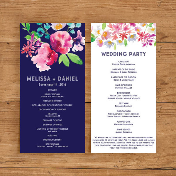 Papers and Ink Top Wedding Program Templates - EverAfterGuide - wedding program template