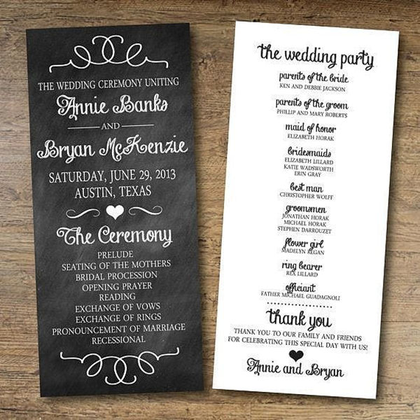 Papers and Ink Top Wedding Program Templates - EverAfterGuide