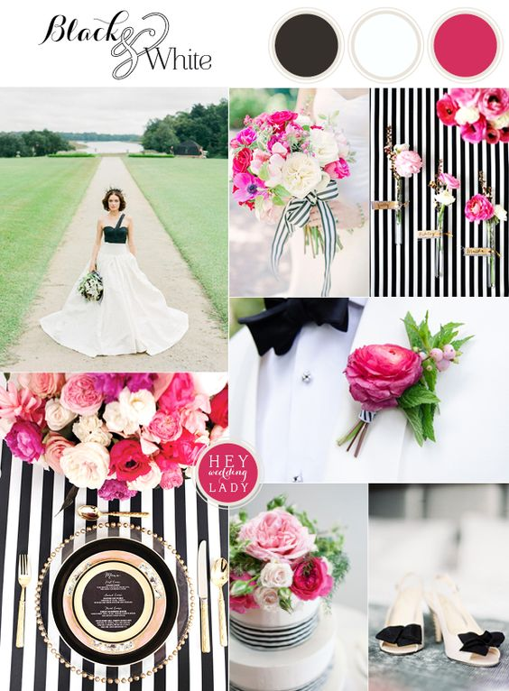 What Color Matches Fuchsia for Wedding? - EverAfterGuide - pink black and white weddings