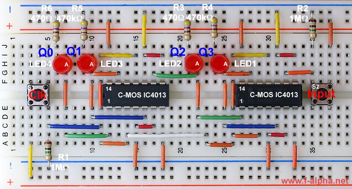 f-alphanet Experiment 3 - 4-bit Shift Register
