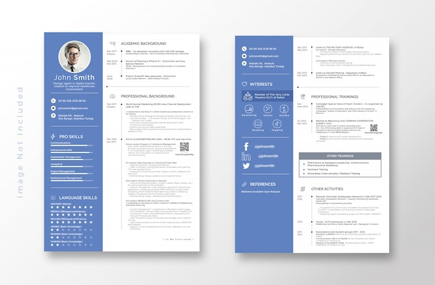 resume template with blue name
