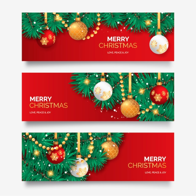 Free Christmas Banner with Elegant Decoration SVG DXF EPS PNG - Free