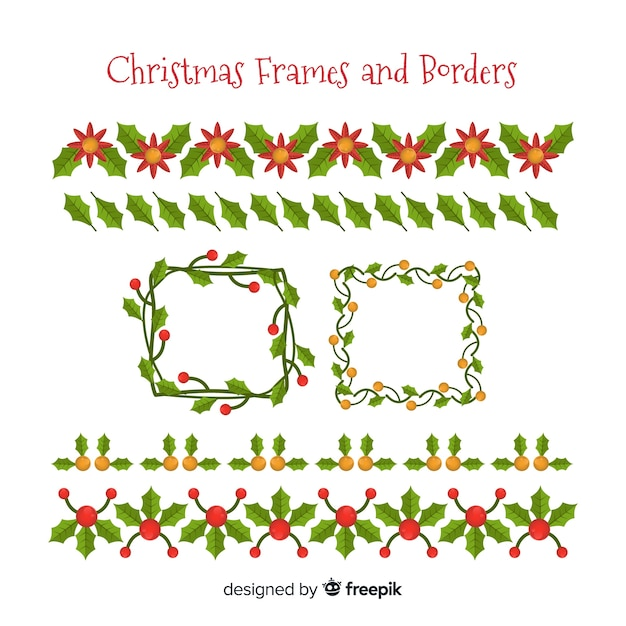 Free Christmas floral frames and borders collection SVG DXF EPS PNG