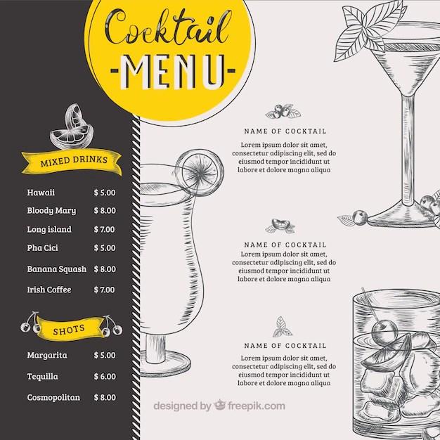 free drink menu template - Pinarkubkireklamowe