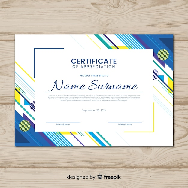 Free Creative certificate template with abstract shapes SVG DXF EPS