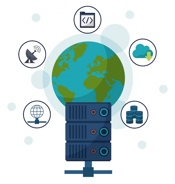 Earth globe and network server and communication icons around