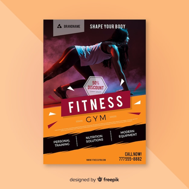 Free Fitness flyer template SVG DXF EPS PNG - Free SVG Cut Files
