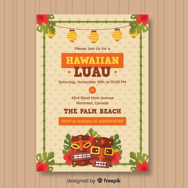 Free Hawaiian luau party flyer SVG DXF EPS PNG - Download Free SVG