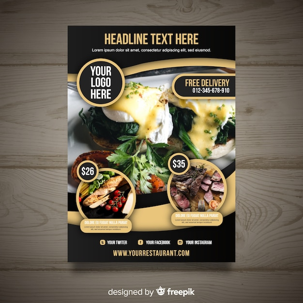 Free Modern gourmet restaurant flyer template SVG DXF EPS PNG - All