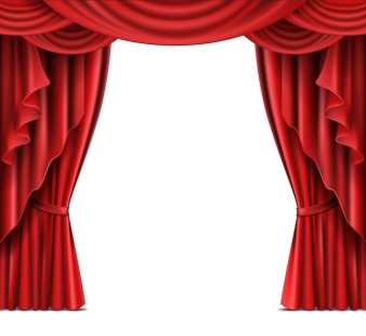 Theater Stage Red Curtains Realistic Vector