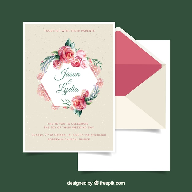 Free Watercolor wedding invitation template with floral style SVG