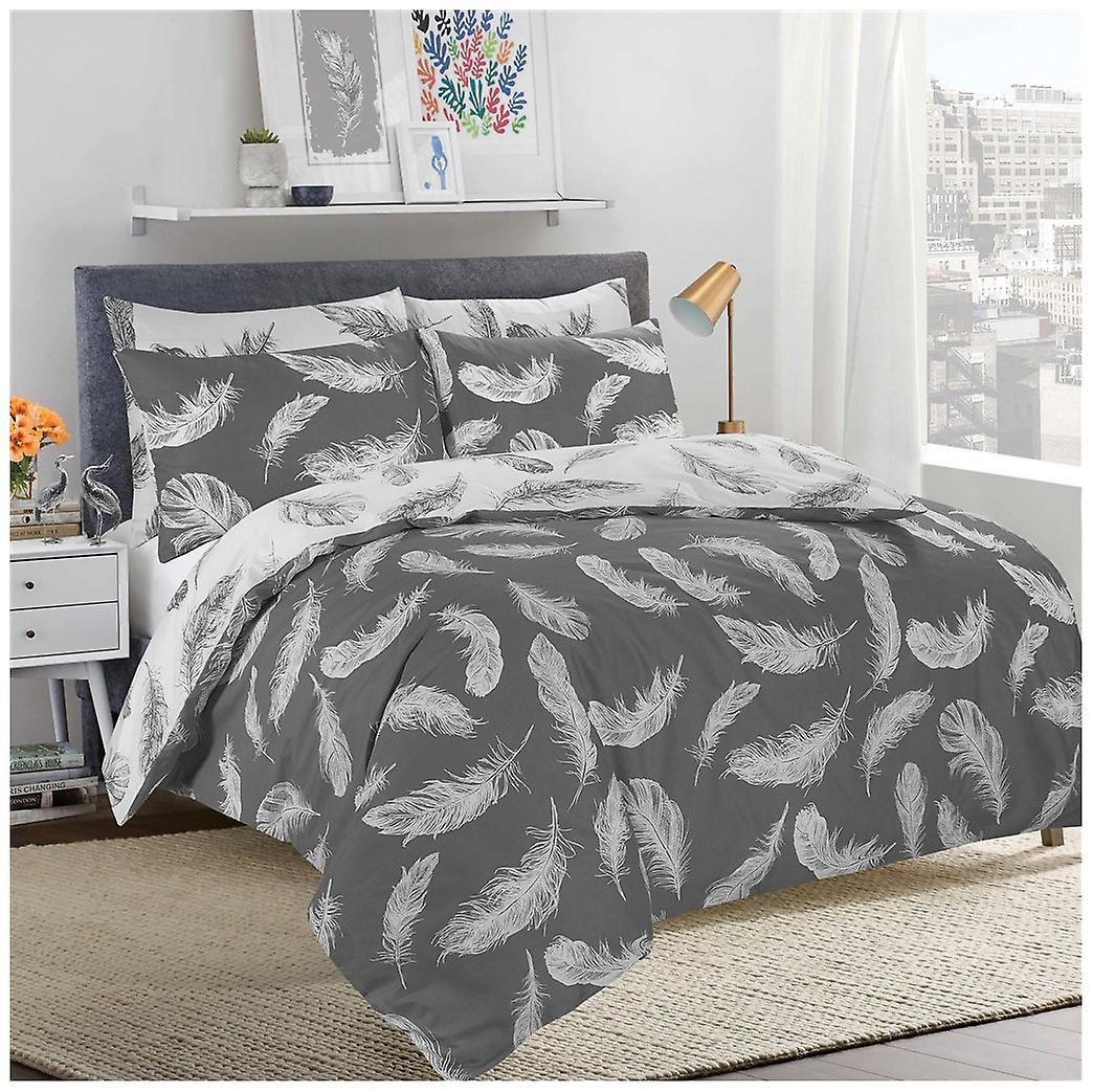 Bettwaren Wäsche Matratzen Reversible Poly Cotton Feathers Design Duvet Cover With Pillow Cases Bedding Set Maybrands Com Ng