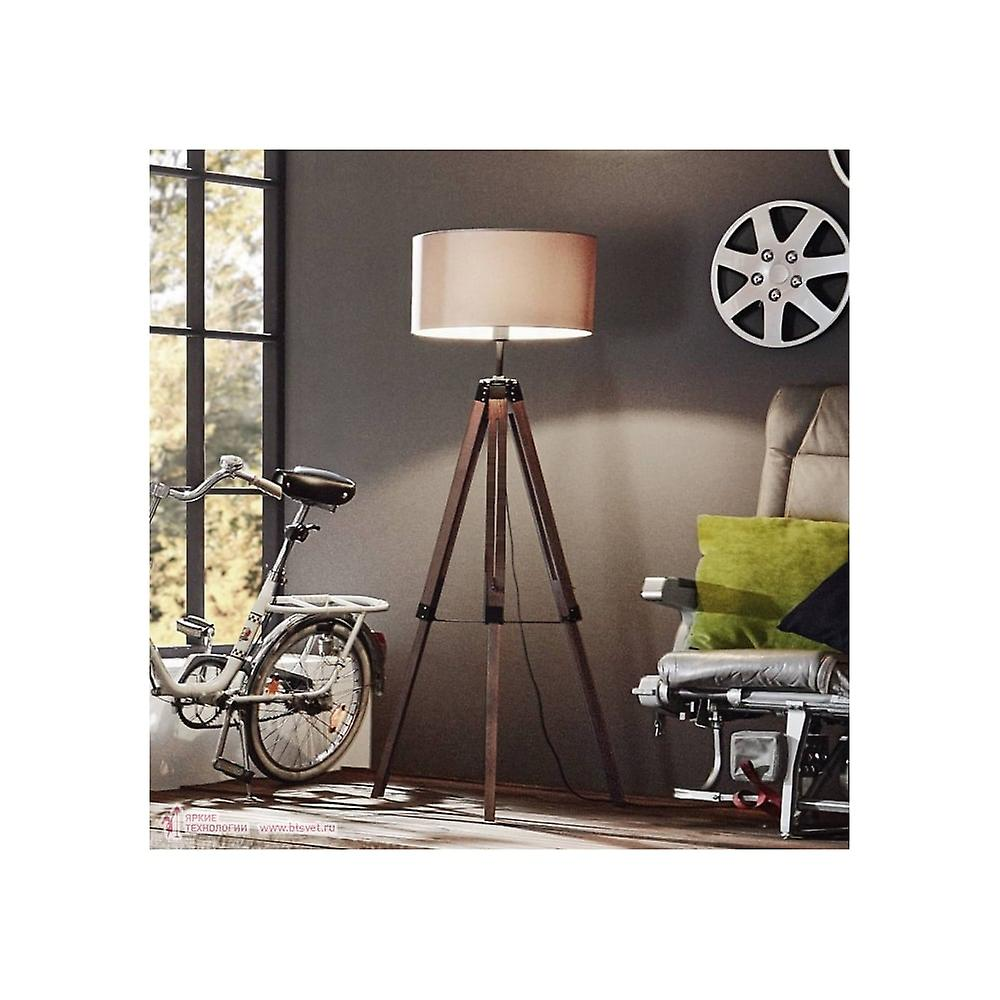 Eglo Lampen Eglo Lantada Tripod Lamp Wooden Base With Taupe Shade