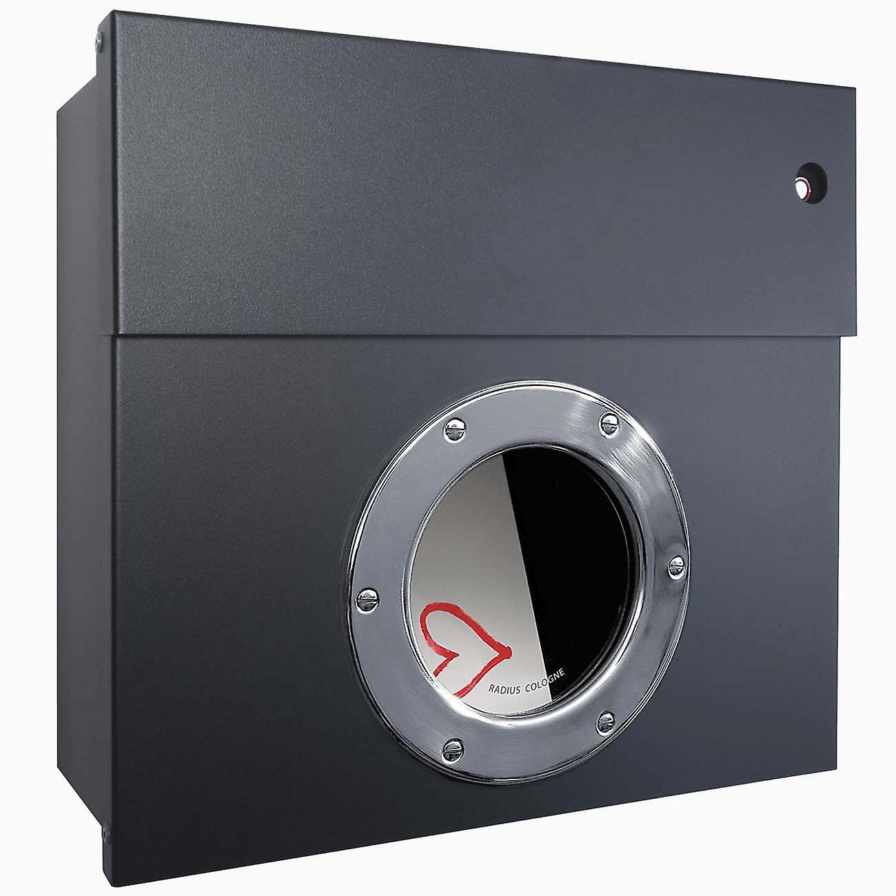 Anthrazit Grau Metallic Ral Radius White Letterbox Letterman 1 Anthracite Grey Ral 7016 With Led Ring 506 G Kw