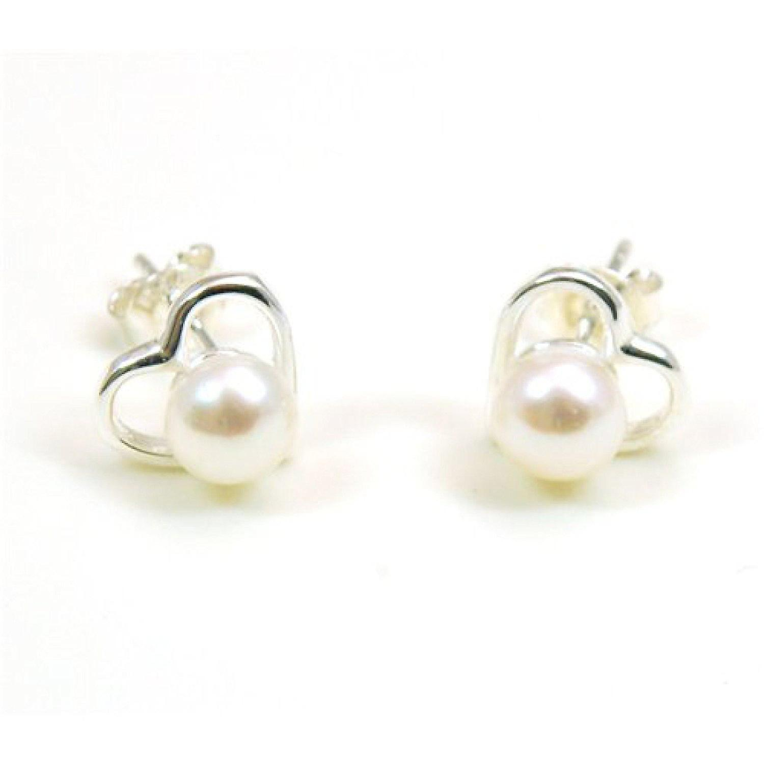 Metal Stud Profielen Gamma The Olivia Collection Sterling Silver Pearl Heart Stud Earrings