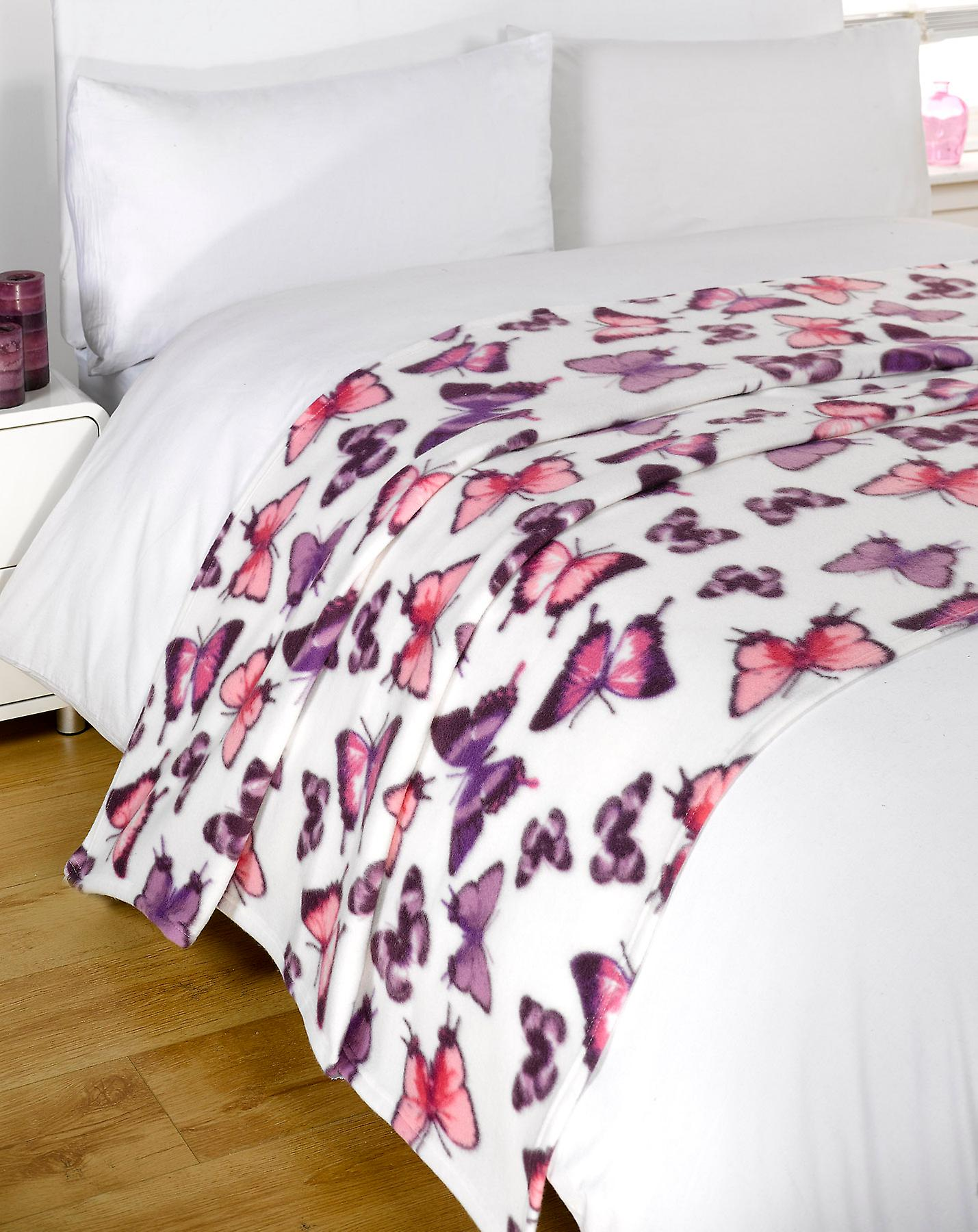 Bed Deken 20 X Fleece Throw Over Job Veel Bed Deken Butterfly Groothandel Paars 120 X 150