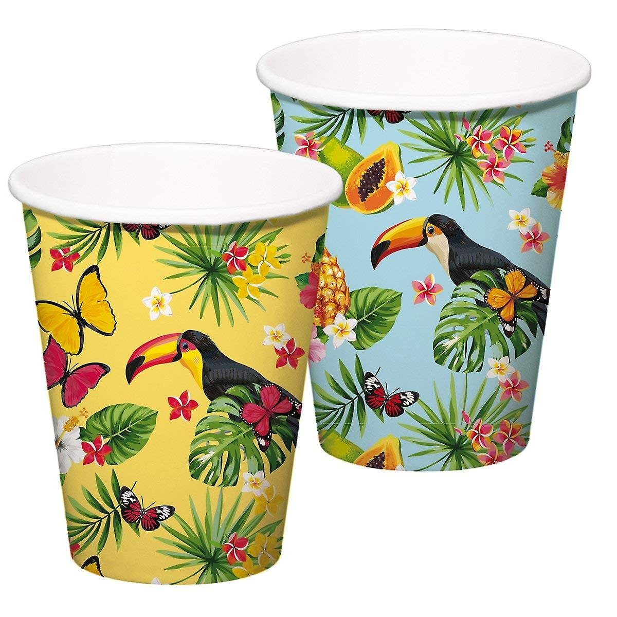 Sommerparty Deko Tukan Sommer Party Xl Becher 350 Ml 8 Stück Tropical Tukanparty Deko