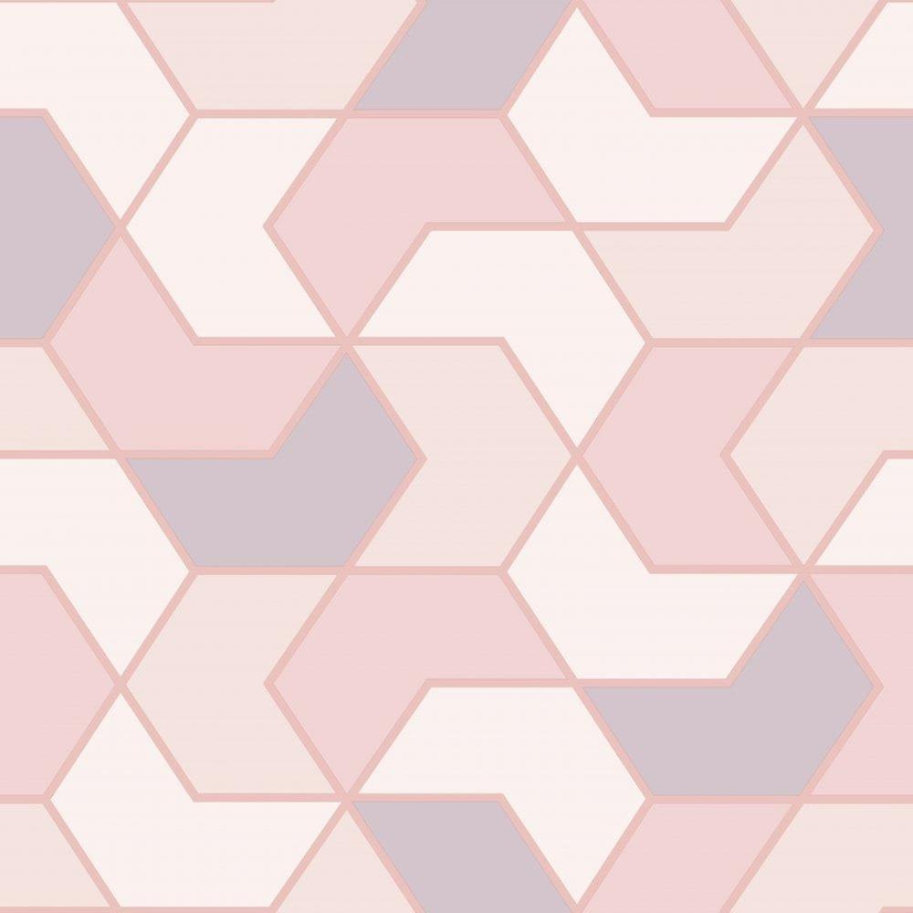 Schlafzimmer Modern Pink Pink White Geometric Hexagon Wallpaper Metallic Sheen Glitter Modern Rasch