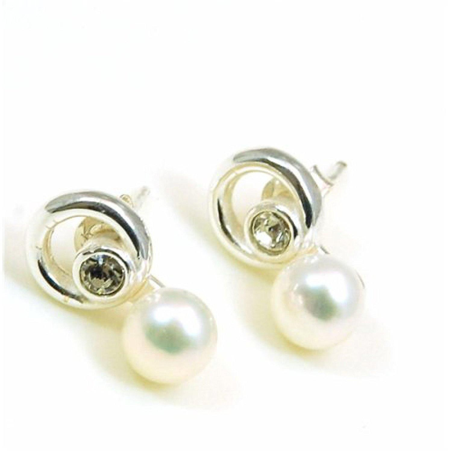 Metal Stud Profielen Gamma The Olivia Collection Sterling Silver Pearl And Cz Crystal Stud Earrings