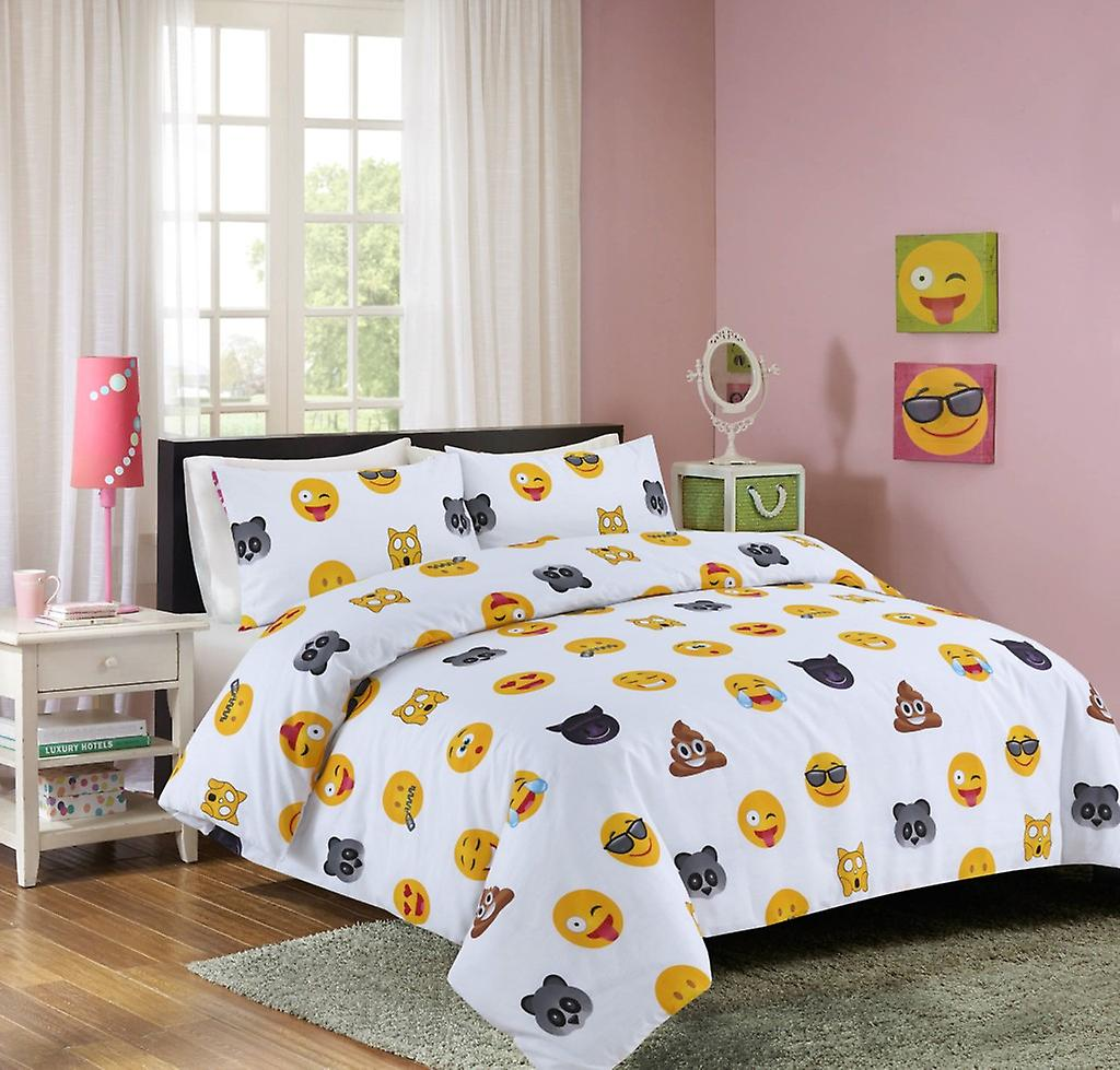 White Emoji Smiley Face Duvet Quilt Cover Polycotton Printed Bedding Set Fruugo Lu