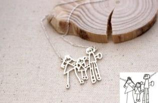 [產品設計]孩童塗鴉插畫金飾項鍊
