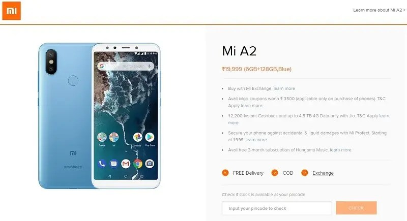 Xiaomi lists Mi A2 6GB +128GB variant on its official website