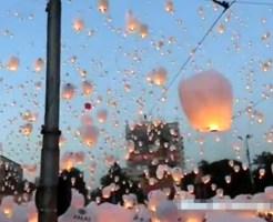 【衝撃映像:景色】13000個の提灯を一斉に飛ばすとこうなったwww