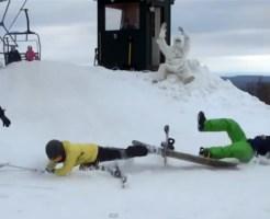 【どっきり】スキー場に雪男が!!リアルな着ぐるみで脅かすいたずらw