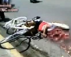 【グロ動画】上半身だけミンチになった死体・・・下半身はまだ自転車に乗ってる