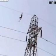 【自殺】鉄塔を登り電線を伝って飛び降り自殺