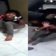 【DV】自分の娘を棒で殴り続ける悲惨な虐待映像・・・