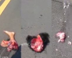 【グロ動画】事故して車から投げ出されて道路でズサーーー!! → 肉片 髪の毛付き頭蓋骨 ちぎれた足 女の子 ※閲覧注意
