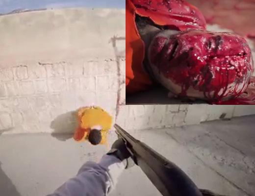 【イスラム国】頭に黒スプレーでマーキングしてFPS視点のヘッドショット処刑してみた ※グロ動画