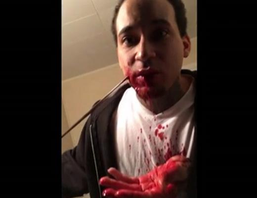 【グロ動画】刀で顔切って穴開ける実演するから見に来てくれ!イイネしてね☆ 閲覧注意