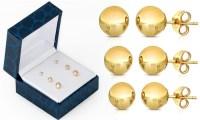 14K Gold Ball Stud Earrings (3-Pack) | LivingSocial