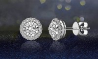 3.44 CTTW Halo Stud Earrings with Swarovski Elements ...