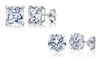 14K White Gold Stud Earrings Made with Swarovski Elements ...